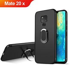Silikon Hülle Handyhülle Ultra Dünn Schutzhülle Silikon mit Magnetisch Fingerring Ständer für Huawei Mate 20 X 5G Schwarz