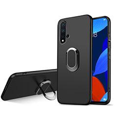 Silikon Hülle Handyhülle Ultra Dünn Schutzhülle Silikon mit Magnetisch Fingerring Ständer für Huawei Nova 5 Schwarz