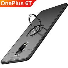 Silikon Hülle Handyhülle Ultra Dünn Schutzhülle Silikon mit Magnetisch Fingerring Ständer für OnePlus 6T Schwarz