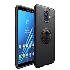 Silikon Hülle Handyhülle Ultra Dünn Schutzhülle Silikon mit Magnetisch Fingerring Ständer für Samsung Galaxy A6 (2018) Dual SIM Schwarz