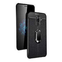 Silikon Hülle Handyhülle Ultra Dünn Schutzhülle Silikon mit Magnetisch Fingerring Ständer für Samsung Galaxy A6 Plus (2018) Schwarz