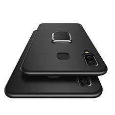 Silikon Hülle Handyhülle Ultra Dünn Schutzhülle Silikon mit Magnetisch Fingerring Ständer für Samsung Galaxy A8 Star Schwarz