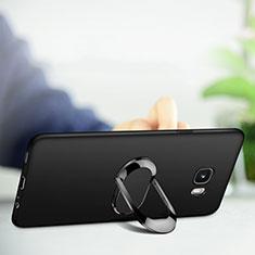 Silikon Hülle Handyhülle Ultra Dünn Schutzhülle Silikon mit Magnetisch Fingerring Ständer für Samsung Galaxy C9 Pro C9000 Schwarz