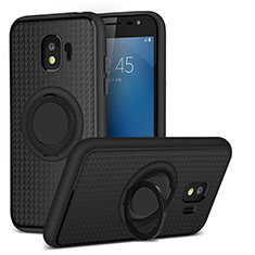 Silikon Hülle Handyhülle Ultra Dünn Schutzhülle Silikon mit Magnetisch Fingerring Ständer für Samsung Galaxy J2 Pro (2018) J250F Schwarz