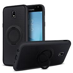 Silikon Hülle Handyhülle Ultra Dünn Schutzhülle Silikon mit Magnetisch Fingerring Ständer für Samsung Galaxy J5 Pro (2017) J530Y Schwarz