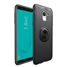 Silikon Hülle Handyhülle Ultra Dünn Schutzhülle Silikon mit Magnetisch Fingerring Ständer für Samsung Galaxy On6 (2018) J600F J600G Schwarz
