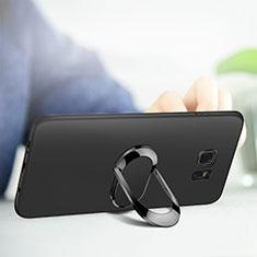 Silikon Hülle Handyhülle Ultra Dünn Schutzhülle Silikon mit Magnetisch Fingerring Ständer für Samsung Galaxy S7 Edge G935F Schwarz