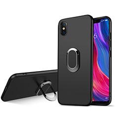 Silikon Hülle Handyhülle Ultra Dünn Schutzhülle Silikon mit Magnetisch Fingerring Ständer für Xiaomi Mi 8 Screen Fingerprint Edition Schwarz