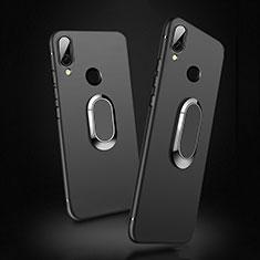 Silikon Hülle Handyhülle Ultra Dünn Schutzhülle Silikon mit Magnetisch Fingerring Ständer für Xiaomi Redmi 7 Schwarz