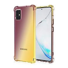Silikon Hülle Handyhülle Ultra Dünn Schutzhülle Tasche Durchsichtig Transparent Farbverlauf für Samsung Galaxy A51 4G Braun
