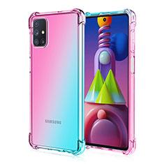 Silikon Hülle Handyhülle Ultra Dünn Schutzhülle Tasche Durchsichtig Transparent Farbverlauf für Samsung Galaxy M51 Cyan