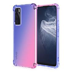 Silikon Hülle Handyhülle Ultra Dünn Schutzhülle Tasche Durchsichtig Transparent Farbverlauf für Vivo V20 SE Blau