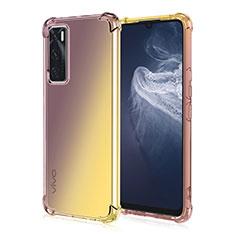 Silikon Hülle Handyhülle Ultra Dünn Schutzhülle Tasche Durchsichtig Transparent Farbverlauf für Vivo Y70 (2020) Braun