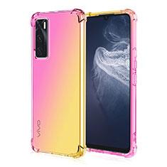 Silikon Hülle Handyhülle Ultra Dünn Schutzhülle Tasche Durchsichtig Transparent Farbverlauf für Vivo Y70 (2020) Gelb