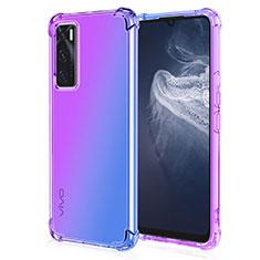 Silikon Hülle Handyhülle Ultra Dünn Schutzhülle Tasche Durchsichtig Transparent Farbverlauf für Vivo Y70 (2020) Violett