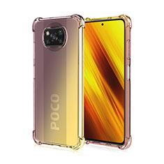 Silikon Hülle Handyhülle Ultra Dünn Schutzhülle Tasche Durchsichtig Transparent Farbverlauf für Xiaomi Poco X3 NFC Braun