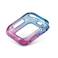 Silikon Hülle Handyhülle Ultra Dünn Schutzhülle Tasche Durchsichtig Transparent Farbverlauf G01 für Apple iWatch 5 44mm Blau