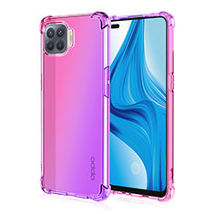 Silikon Hülle Handyhülle Ultra Dünn Schutzhülle Tasche Durchsichtig Transparent Farbverlauf G01 für Oppo F17 Pro Rosa