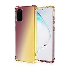 Silikon Hülle Handyhülle Ultra Dünn Schutzhülle Tasche Durchsichtig Transparent Farbverlauf G01 für Samsung Galaxy S20 Plus Braun