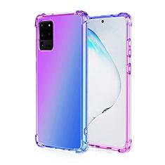 Silikon Hülle Handyhülle Ultra Dünn Schutzhülle Tasche Durchsichtig Transparent Farbverlauf G01 für Samsung Galaxy S20 Ultra 5G Violett