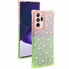 Silikon Hülle Handyhülle Ultra Dünn Schutzhülle Tasche Durchsichtig Transparent Farbverlauf G02 für Samsung Galaxy Note 20 Ultra 5G Armee-Grün