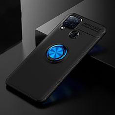 Silikon Hülle Handyhülle Ultra Dünn Schutzhülle Tasche Flexible mit Fingerring Ständer für Realme C15 Blau und Schwarz