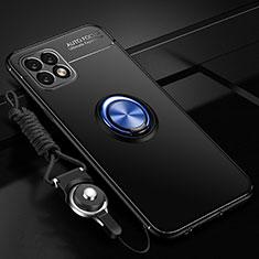 Silikon Hülle Handyhülle Ultra Dünn Schutzhülle Tasche Flexible mit Magnetisch Fingerring Ständer A01 für Huawei Enjoy 20 5G Blau und Schwarz