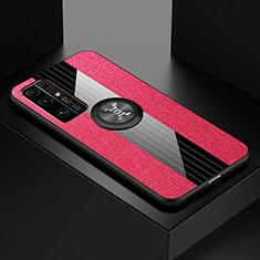 Silikon Hülle Handyhülle Ultra Dünn Schutzhülle Tasche Flexible mit Magnetisch Fingerring Ständer A01 für Huawei Honor 30 Pink