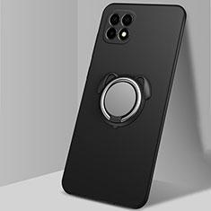 Silikon Hülle Handyhülle Ultra Dünn Schutzhülle Tasche Flexible mit Magnetisch Fingerring Ständer A01 für Oppo Reno4 SE 5G Schwarz