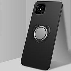 Silikon Hülle Handyhülle Ultra Dünn Schutzhülle Tasche Flexible mit Magnetisch Fingerring Ständer A01 für Oppo Reno4 Z 5G Schwarz