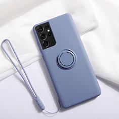 Silikon Hülle Handyhülle Ultra Dünn Schutzhülle Tasche Flexible mit Magnetisch Fingerring Ständer A01 für Samsung Galaxy S21 Ultra 5G Lavendel Grau