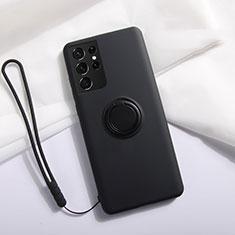 Silikon Hülle Handyhülle Ultra Dünn Schutzhülle Tasche Flexible mit Magnetisch Fingerring Ständer A01 für Samsung Galaxy S21 Ultra 5G Schwarz