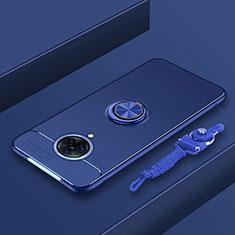 Silikon Hülle Handyhülle Ultra Dünn Schutzhülle Tasche Flexible mit Magnetisch Fingerring Ständer A01 für Vivo Nex 3 5G Blau
