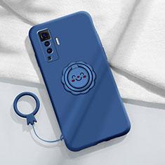 Silikon Hülle Handyhülle Ultra Dünn Schutzhülle Tasche Flexible mit Magnetisch Fingerring Ständer A01 für Vivo X50 5G Blau