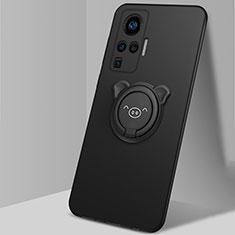 Silikon Hülle Handyhülle Ultra Dünn Schutzhülle Tasche Flexible mit Magnetisch Fingerring Ständer A01 für Vivo X51 5G Schwarz