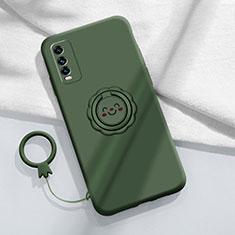 Silikon Hülle Handyhülle Ultra Dünn Schutzhülle Tasche Flexible mit Magnetisch Fingerring Ständer A01 für Vivo Y12s Nachtgrün