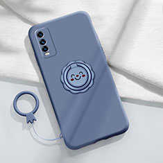 Silikon Hülle Handyhülle Ultra Dünn Schutzhülle Tasche Flexible mit Magnetisch Fingerring Ständer A01 für Vivo Y20s Lavendel Grau