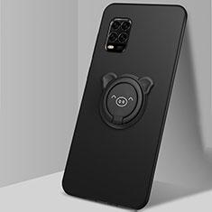 Silikon Hülle Handyhülle Ultra Dünn Schutzhülle Tasche Flexible mit Magnetisch Fingerring Ständer A01 für Xiaomi Mi 10 Lite Schwarz