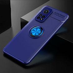 Silikon Hülle Handyhülle Ultra Dünn Schutzhülle Tasche Flexible mit Magnetisch Fingerring Ständer A01 für Xiaomi Mi 10T 5G Blau