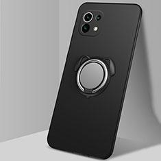 Silikon Hülle Handyhülle Ultra Dünn Schutzhülle Tasche Flexible mit Magnetisch Fingerring Ständer A01 für Xiaomi Mi 11 5G Schwarz