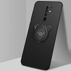 Silikon Hülle Handyhülle Ultra Dünn Schutzhülle Tasche Flexible mit Magnetisch Fingerring Ständer A01 für Xiaomi Redmi 9 Prime India Schwarz