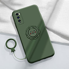 Silikon Hülle Handyhülle Ultra Dünn Schutzhülle Tasche Flexible mit Magnetisch Fingerring Ständer A02 für Huawei Enjoy 20 Pro 5G Grün