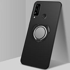 Silikon Hülle Handyhülle Ultra Dünn Schutzhülle Tasche Flexible mit Magnetisch Fingerring Ständer A02 für Huawei Honor Play4T Schwarz