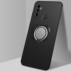 Silikon Hülle Handyhülle Ultra Dünn Schutzhülle Tasche Flexible mit Magnetisch Fingerring Ständer A02 für Oppo A32 Schwarz