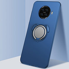 Silikon Hülle Handyhülle Ultra Dünn Schutzhülle Tasche Flexible mit Magnetisch Fingerring Ständer A02 für Oppo Ace2 Blau