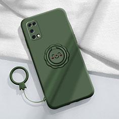 Silikon Hülle Handyhülle Ultra Dünn Schutzhülle Tasche Flexible mit Magnetisch Fingerring Ständer A02 für Oppo K7x 5G Nachtgrün