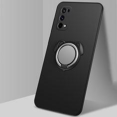Silikon Hülle Handyhülle Ultra Dünn Schutzhülle Tasche Flexible mit Magnetisch Fingerring Ständer A02 für Realme X7 Pro 5G Schwarz