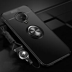 Silikon Hülle Handyhülle Ultra Dünn Schutzhülle Tasche Flexible mit Magnetisch Fingerring Ständer A02 für Vivo Nex 3 Schwarz