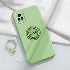 Silikon Hülle Handyhülle Ultra Dünn Schutzhülle Tasche Flexible mit Magnetisch Fingerring Ständer A02 für Vivo V20 Pro 5G Minzgrün
