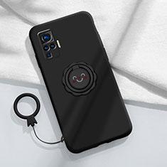 Silikon Hülle Handyhülle Ultra Dünn Schutzhülle Tasche Flexible mit Magnetisch Fingerring Ständer A02 für Vivo X51 5G Schwarz